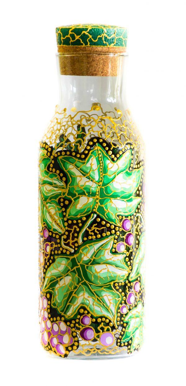 Sticla Pictata Struguri in culori de acril si vitraliu.