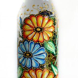 Pictura pe sticla cu margarete