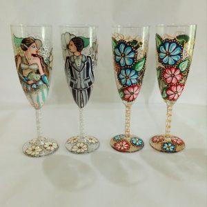 Pahare pictate Miri in culori de acril si vitraliu.