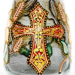 Vaza pictata cu motive religioase in culori
