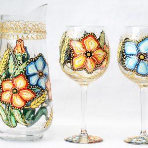 Set pictat carafa cu 2 pahare in culori de acril si vitraliu