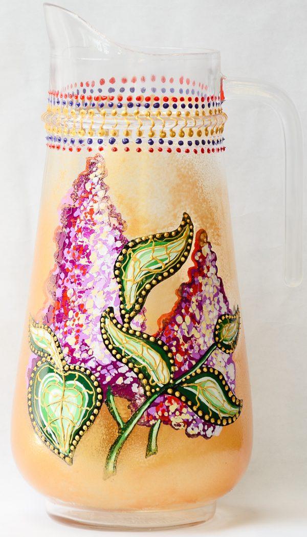 Set pictat carafa cu 2 pahare - flori liliac